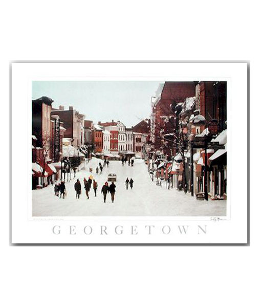 Georgetown winter street scene print by Fred Maroon