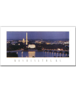 Washington DC Skyline panoramic print featuring a night photograph of the classic view of the city