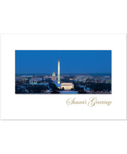 Washington DC Skyline holiday card. The classic view of the Washington skyline and its monuments on a snowy night.