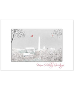 Washington DC holiday greeting card featuring a pen and ink sketch of the skyline with a family of cardinals by artist Bill Harrah