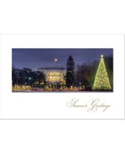 Holiday greeting card of the White House Pageant of Peace display at Christmas time.