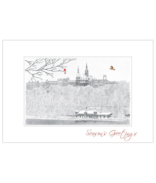 Georgetown University holiday greeting card featuring a pen and ink sketch of the view across the Potomac.