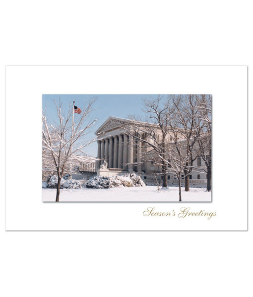 U.S. Supreme Court holiday greeting cards featuring a photograph on a clear and snowy winter day