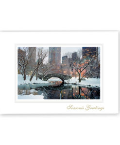 Gapstow Bridge NYC Holiday Card photographed on a lovely snowy evening