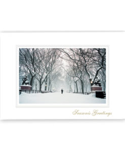 Poet's Walk Central Park NYC Holiday Card. Photograph of a lone figure walking down this famous tree lined path during a snowstorm