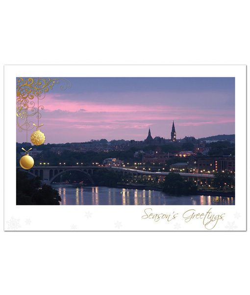 Holiday greeting card featuring the night skyline of Georgetown along the Potomac River