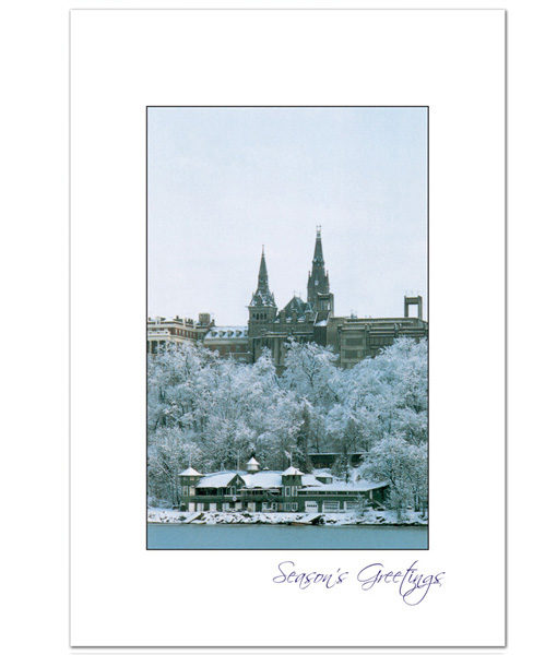 Georgetown University Boathouse in Winter holiday card
